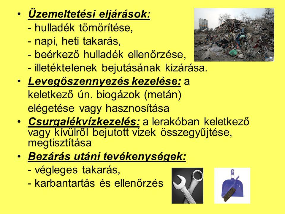 Üzemeltetési eljárások: - hulladék tömörítése, - napi, heti takarás, - beérkező hulladék ellenőrzése, - illetéktelenek bejutásának kizárása.