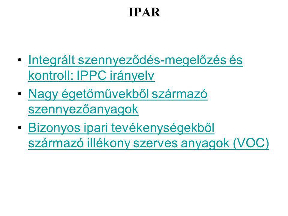 IPAR Integrált szennyeződés-megelőzés és kontroll: IPPC irányelvIntegrált szennyeződés-megelőzés és kontroll: IPPC irányelv Nagy égetőművekből származó szennyezőanyagokNagy égetőművekből származó szennyezőanyagok Bizonyos ipari tevékenységekből származó illékony szerves anyagok (VOC)Bizonyos ipari tevékenységekből származó illékony szerves anyagok (VOC)