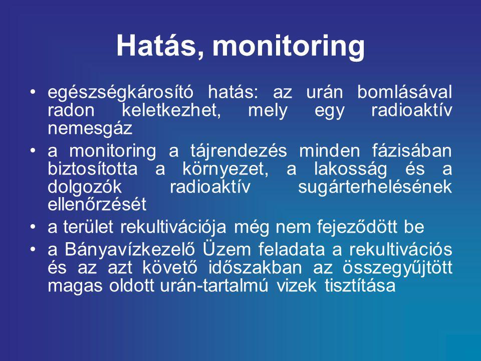 Hatás, monitoring egészségkárosító hatás: az urán bomlásával radon keletkezhet, mely egy radioaktív nemesgáz a monitoring a tájrendezés minden fázisában biztosította a környezet, a lakosság és a dolgozók radioaktív sugárterhelésének ellenőrzését a terület rekultivációja még nem fejeződött be a Bányavízkezelő Üzem feladata a rekultivációs és az azt követő időszakban az összegyűjtött magas oldott urán-tartalmú vizek tisztítása
