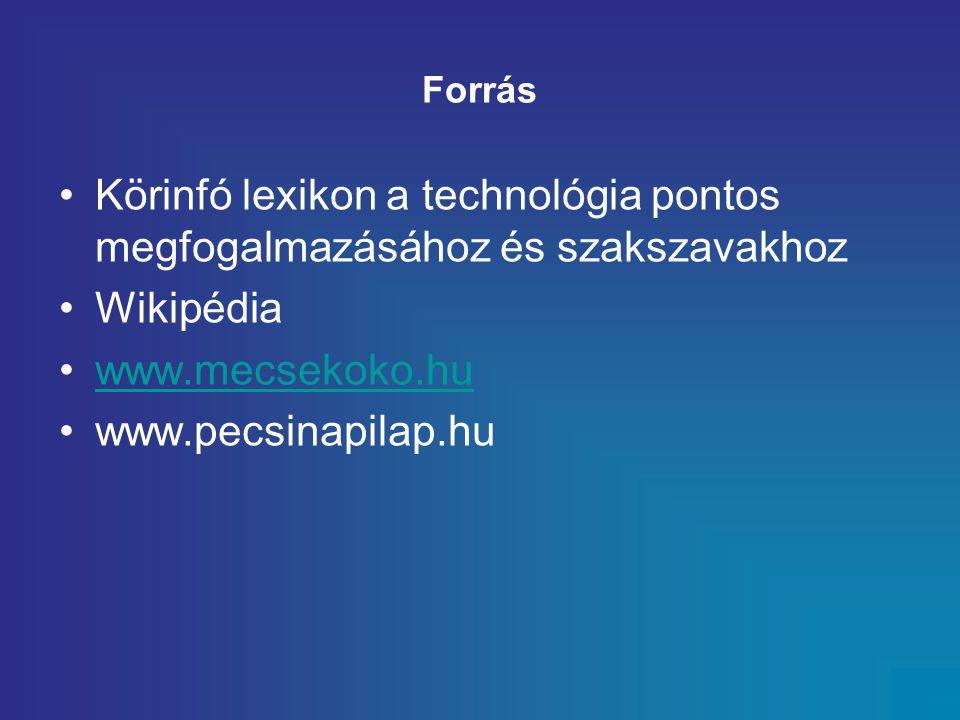Forrás Körinfó lexikon a technológia pontos megfogalmazásához és szakszavakhoz Wikipédia www.mecsekoko.hu www.pecsinapilap.hu