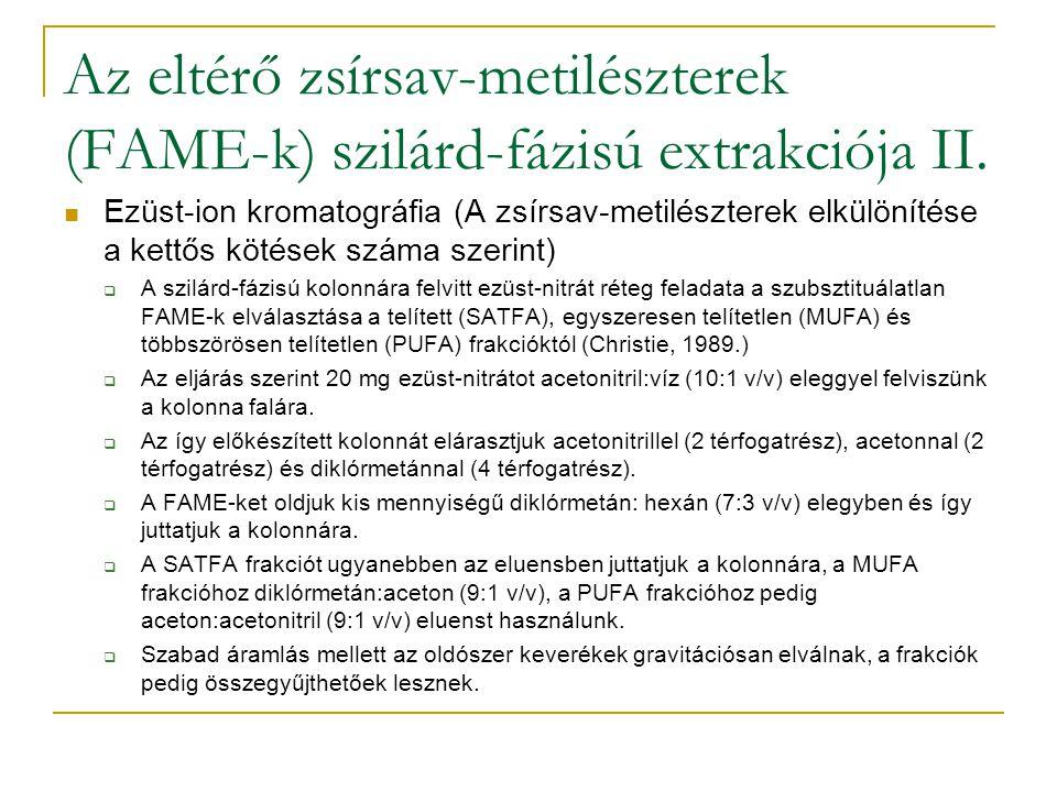 Az eltérő zsírsav-metilészterek (FAME-k) szilárd-fázisú extrakciója II. Ezüst-ion kromatográfia (A zsírsav-metilészterek elkülönítése a kettős kötések