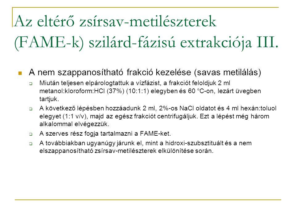 Az eltérő zsírsav-metilészterek (FAME-k) szilárd-fázisú extrakciója III. A nem szappanosítható frakció kezelése (savas metilálás)  Miután teljesen el