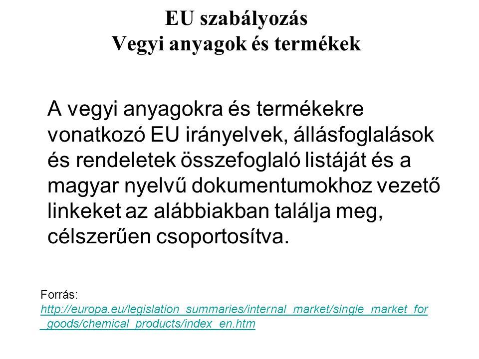 EU szabályozás Vegyi anyagok és termékek A vegyi anyagokra és termékekre vonatkozó EU irányelvek, állásfoglalások és rendeletek összefoglaló listáját és a magyar nyelvű dokumentumokhoz vezető linkeket az alábbiakban találja meg, célszerűen csoportosítva.