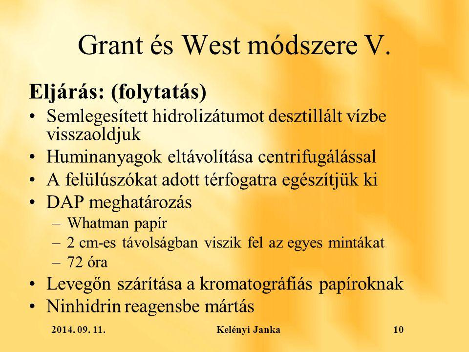 2014. 09. 11. Kelényi Janka10 Grant és West módszere V.