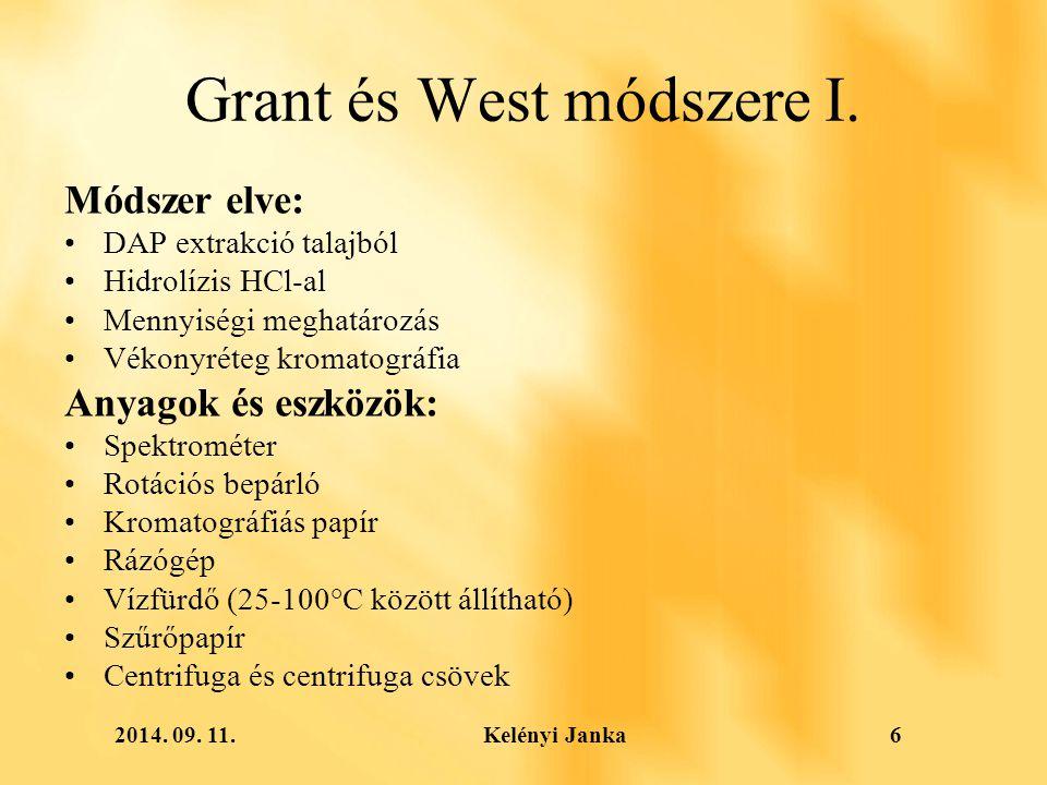 2014. 09. 11. Kelényi Janka6 Grant és West módszere I.