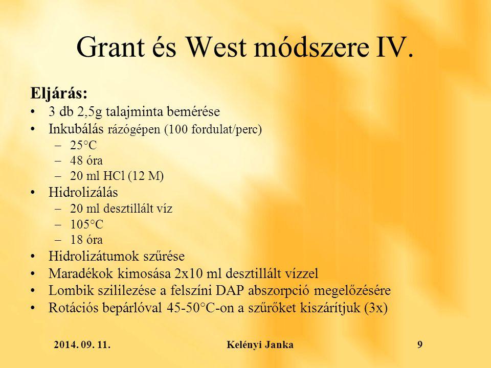 2014. 09. 11. Kelényi Janka9 Grant és West módszere IV.