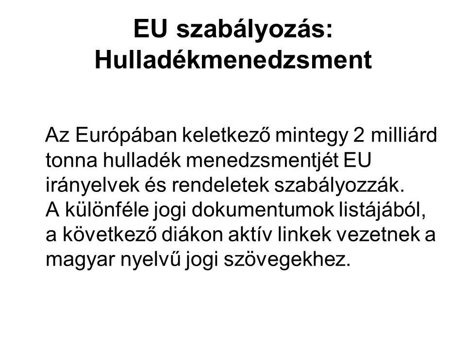 EU szabályozás: Hulladékmenedzsment Az Európában keletkező mintegy 2 milliárd tonna hulladék menedzsmentjét EU irányelvek és rendeletek szabályozzák.