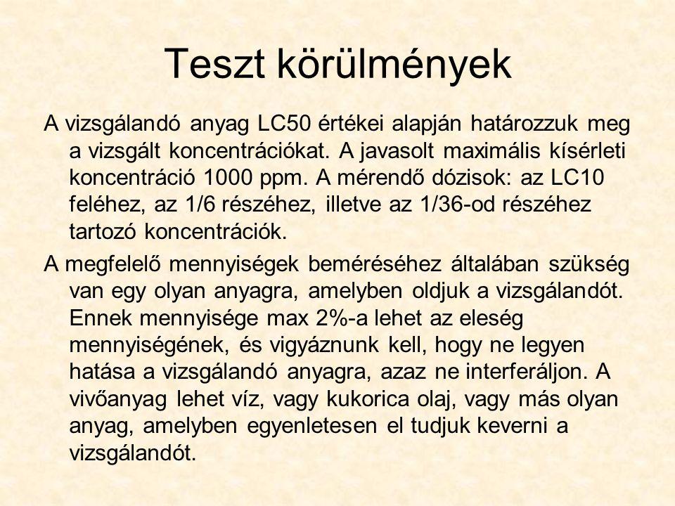 Teszt körülmények A vizsgálandó anyag LC50 értékei alapján határozzuk meg a vizsgált koncentrációkat. A javasolt maximális kísérleti koncentráció 1000