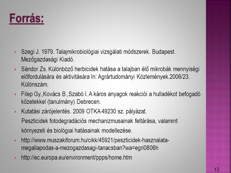 Szegi J. 1979. Talajmikrobiológiai vizsgálati módszerek. Budapest. Mezőgazdasági Kiadó.  Sándor Zs. Különböző herbicidek hatása a talajban élő mikr