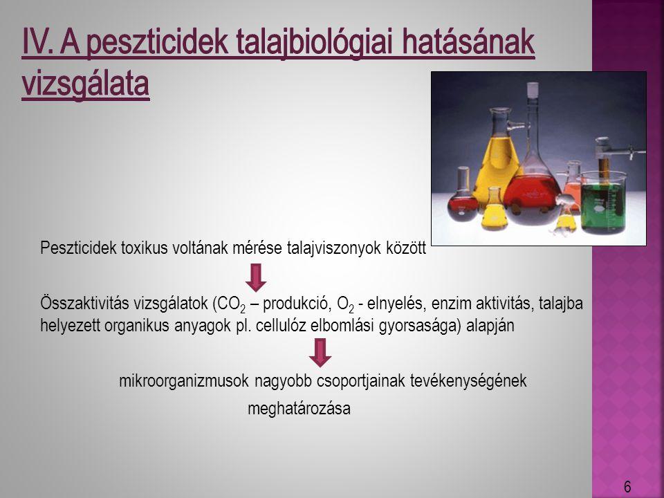 Peszticidek toxikus voltának mérése talajviszonyok között Összaktivitás vizsgálatok (CO 2 – produkció, O 2 - elnyelés, enzim aktivitás, talajba helyez