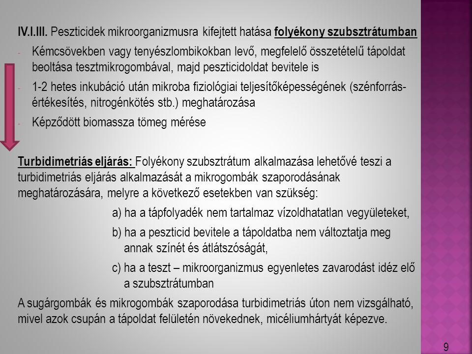 IV.I.III. Peszticidek mikroorganizmusra kifejtett hatása folyékony szubsztrátumban - Kémcsövekben vagy tenyészlombikokban levő, megfelelő összetételű