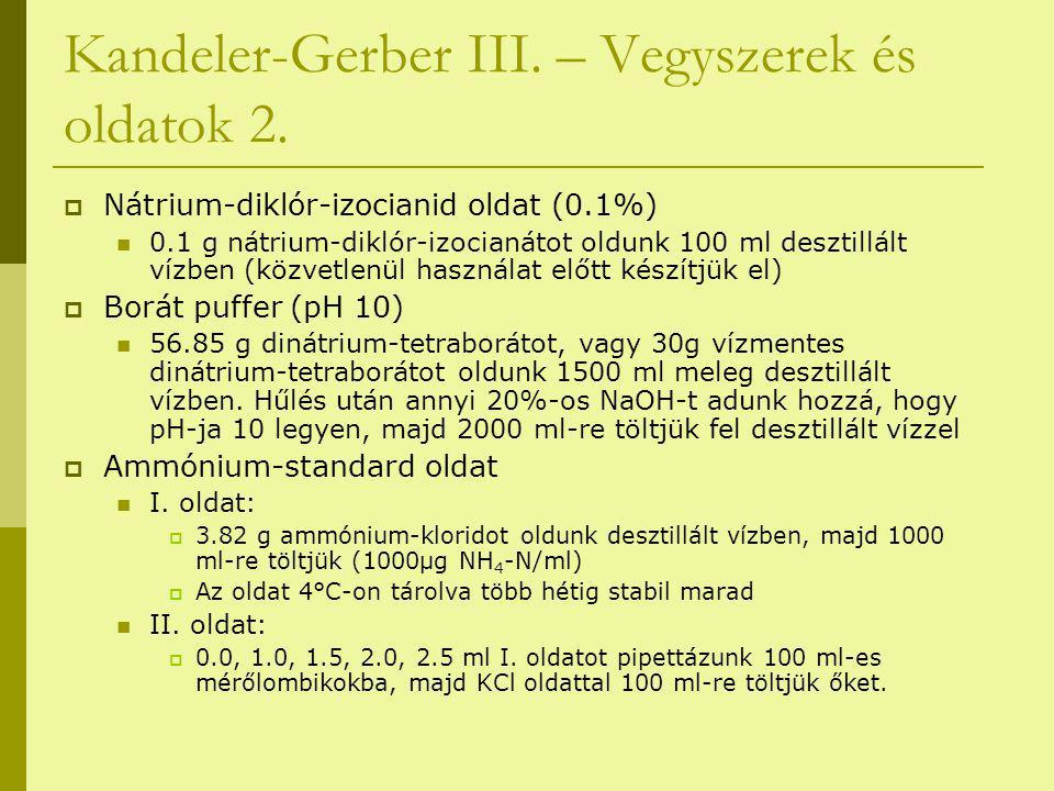Kandeler-Gerber III. – Vegyszerek és oldatok 2.  Nátrium-diklór-izocianid oldat (0.1%) 0.1 g nátrium-diklór-izocianátot oldunk 100 ml desztillált víz