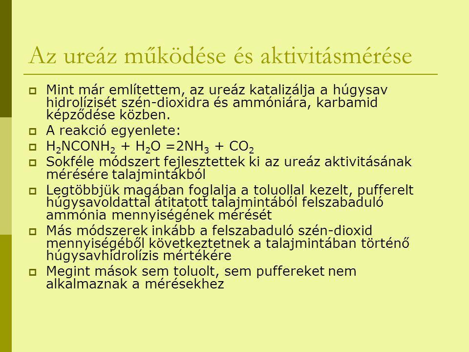 Az ureáz működése és aktivitásmérése  Mint már említettem, az ureáz katalizálja a húgysav hidrolízisét szén-dioxidra és ammóniára, karbamid képződése