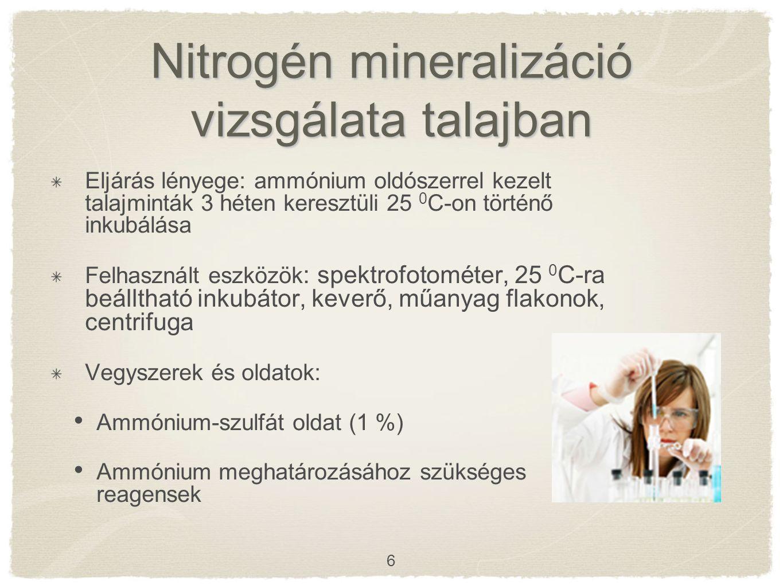 Nitrogén mineralizáció vizsgálata talajban Eljárás lényege: ammónium oldószerrel kezelt talajminták 3 héten keresztüli 25 0 C-on történő inkubálása Felhasznált eszközök : spektrofotométer, 25 0 C-ra beálltható inkubátor, keverő, műanyag flakonok, centrifuga Vegyszerek és oldatok: Ammónium-szulfát oldat (1 %) Ammónium meghatározásához szükséges reagensek 6