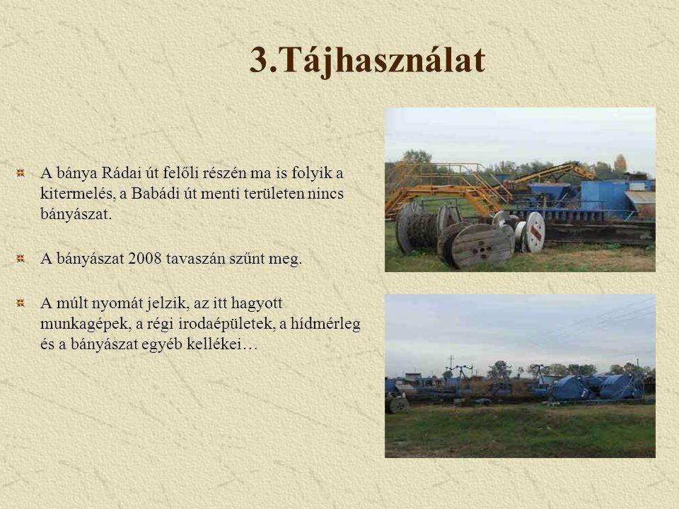 3.Tájhasználat A bánya Rádai út felőli részén ma is folyik a kitermelés, a Babádi út menti területen nincs bányászat. A bányászat 2008 tavaszán szűnt