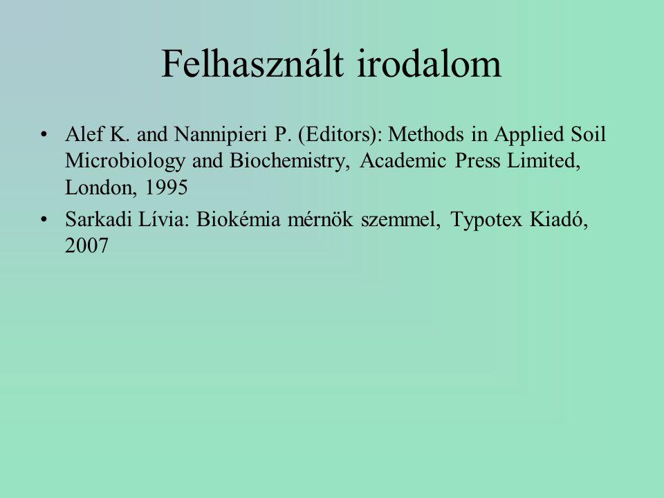 Felhasznált irodalom Alef K. and Nannipieri P. (Editors): Methods in Applied Soil Microbiology and Biochemistry, Academic Press Limited, London, 1995