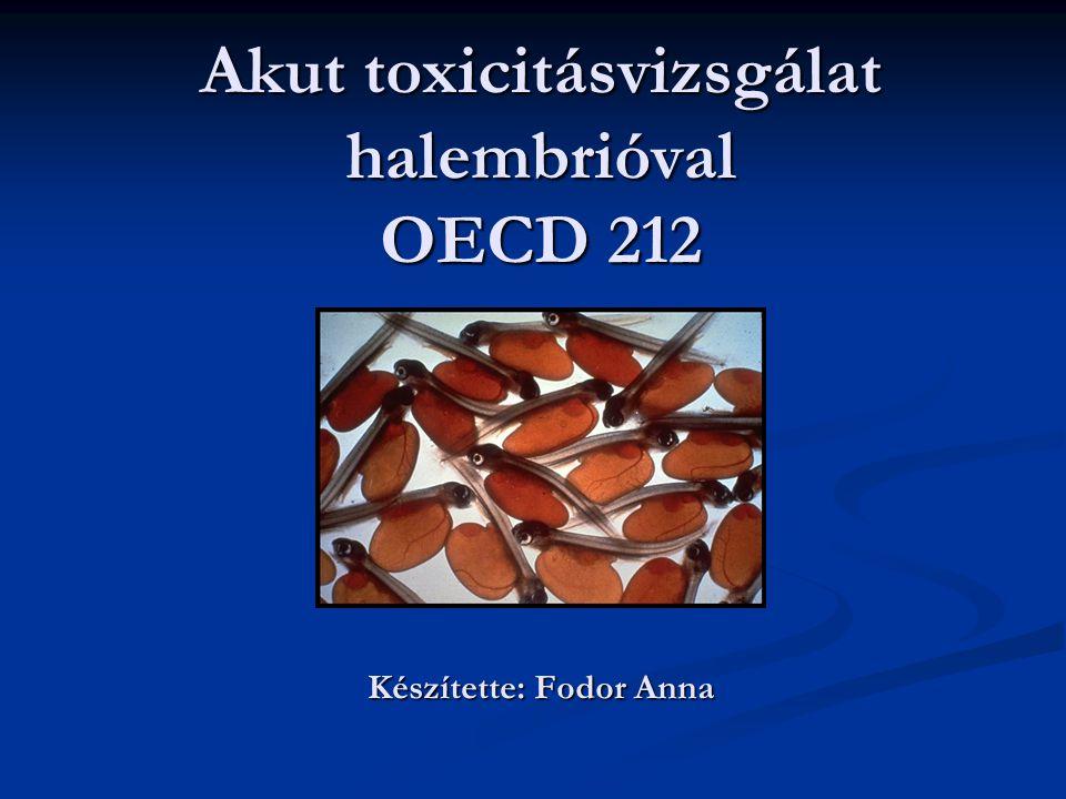 Akut toxicitásvizsgálat halembrióval OECD 212 Készítette: Fodor Anna
