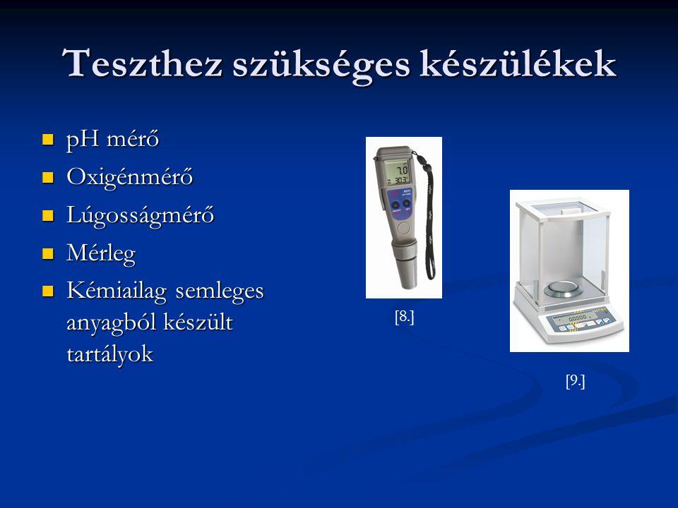 Mérés, analitika Vizsgálat alatt folyamatosan mérni kell a vegyi anyag koncentrációját a tesztoldatban Vizsgálat alatt folyamatosan mérni kell a vegyi anyag koncentrációját a tesztoldatban Félstatikus módszer: legalább a legnagyobb és legkisebb koncentráció elemzése, 3-szor a mérés alatt Félstatikus módszer: legalább a legnagyobb és legkisebb koncentráció elemzése, 3-szor a mérés alatt Átfolyásos módszer: ugyanaz, mint a félstatikusnál, ha a vizsgálat időtartama több mint 7 nap mintavételek számát növelni kel Átfolyásos módszer: ugyanaz, mint a félstatikusnál, ha a vizsgálat időtartama több mint 7 nap mintavételek számát növelni kel A mérés alatt 3-szor mérni kell az oldott oxigéntartalmat, pH-t és hőmérsékletet minden koncentrációnál, az összkeménységet és a sótartalmat a legmagasabb koncentrációjú oldatnál A mérés alatt 3-szor mérni kell az oldott oxigéntartalmat, pH-t és hőmérsékletet minden koncentrációnál, az összkeménységet és a sótartalmat a legmagasabb koncentrációjú oldatnál