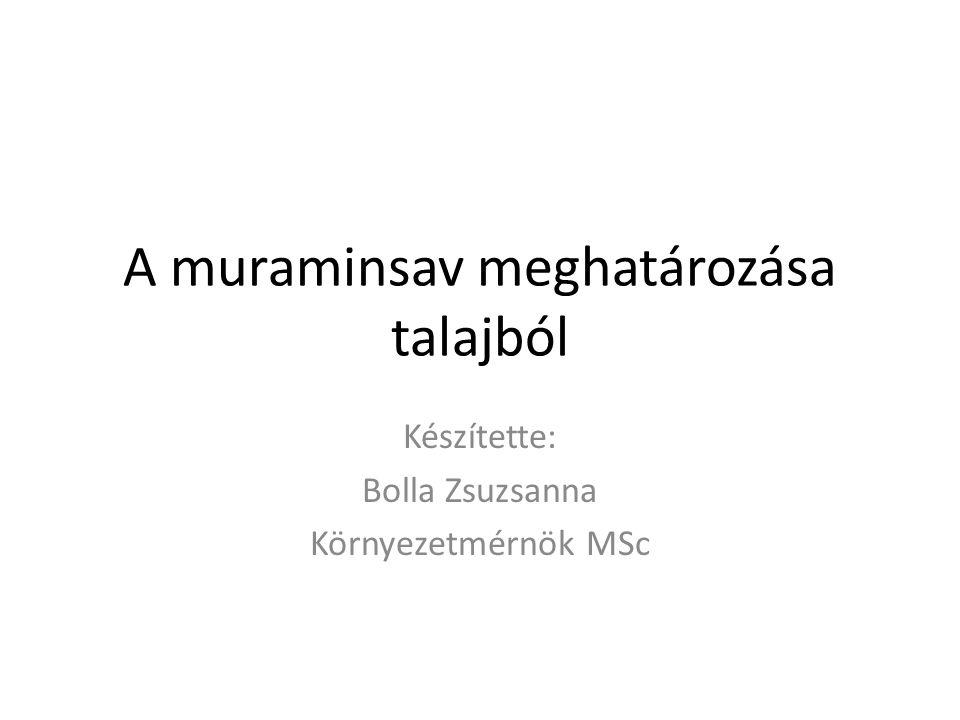 A muraminsav meghatározása talajból Készítette: Bolla Zsuzsanna Környezetmérnök MSc