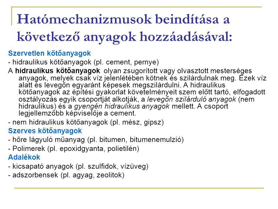 Hatómechanizmusok beindítása a következő anyagok hozzáadásával: Szervetlen kötőanyagok - hidraulikus kötőanyagok (pl. cement, pernye) A hidraulikus kö