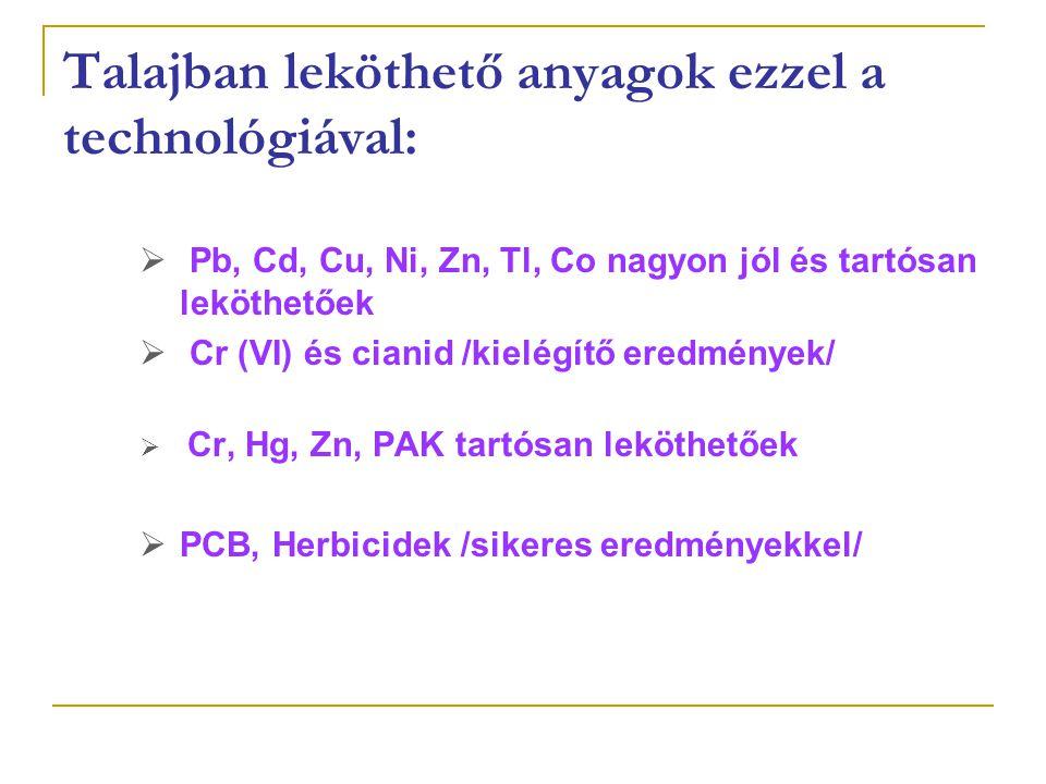 Talajban leköthető anyagok ezzel a technológiával:  Pb, Cd, Cu, Ni, Zn, Tl, Co nagyon jól és tartósan leköthetőek  Cr (VI) és cianid /kielégítő eredmények/  Cr, Hg, Zn, PAK tartósan leköthetőek  PCB, Herbicidek /sikeres eredményekkel/