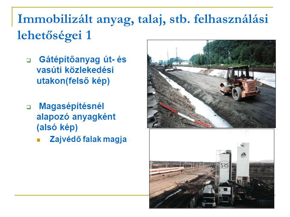 Immobilizált anyag, talaj, stb. felhasználási lehetőségei 1  Gátépítőanyag út- és vasúti közlekedési utakon(felső kép)  Magasépítésnél alapozó anyag
