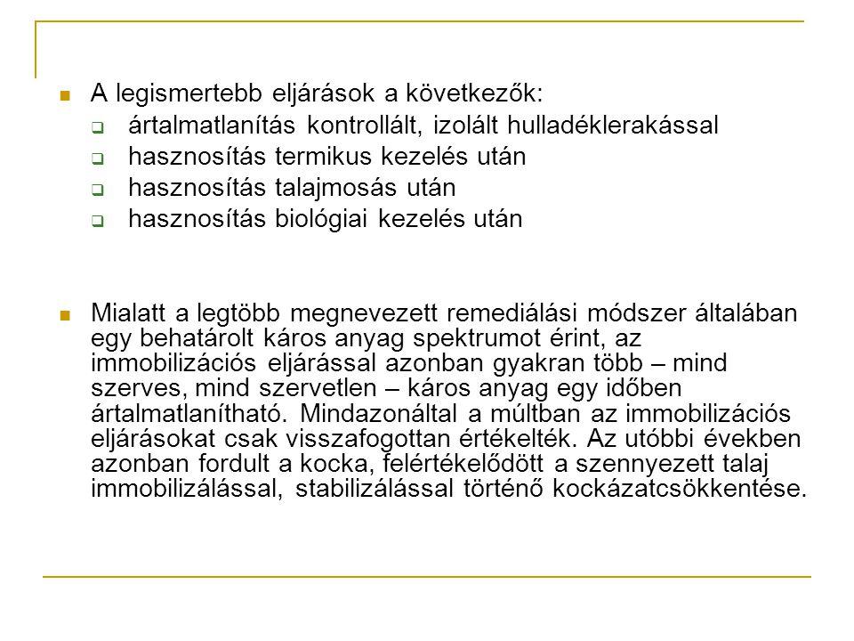 Immobilizált anyagok felhasználási lehetőségei 2  Hulladékok kondicionálása (pl.