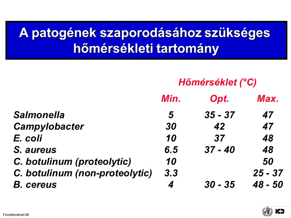 Foodtecshort 28 A patogének szaporodásához szükséges hőmérsékleti tartomány Hőmérséklet (°C) Min.Opt.Max. Salmonella 535 - 3747 Campylobacter 304247 E