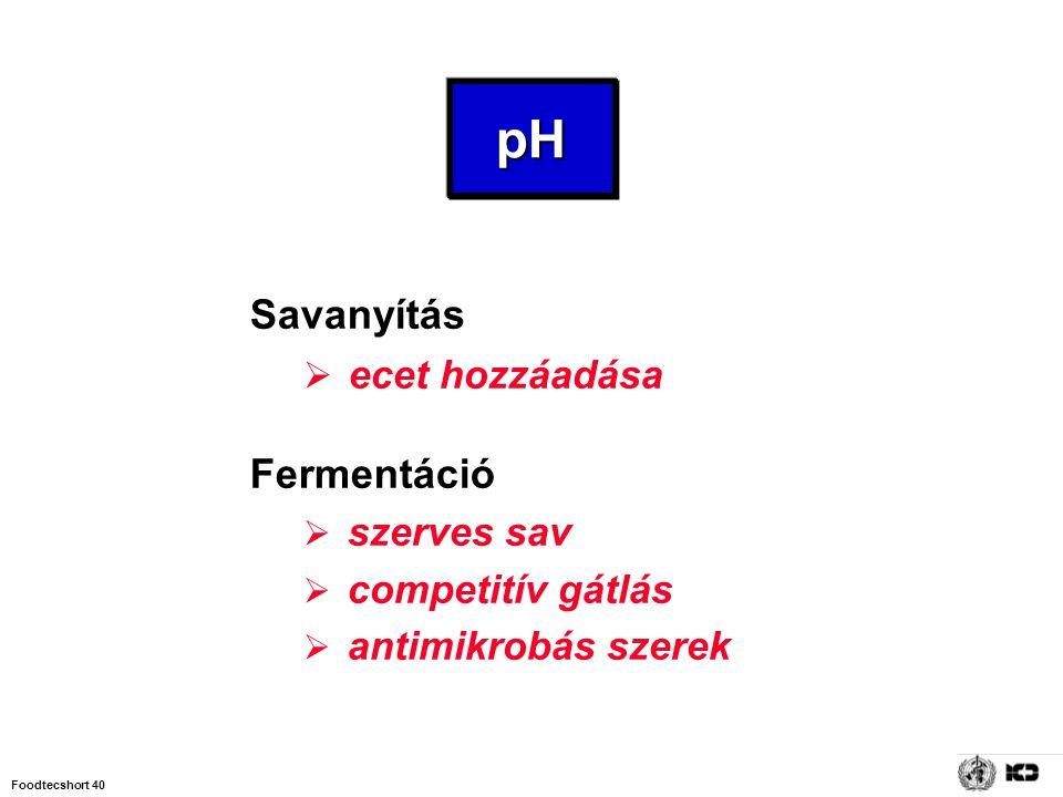 Foodtecshort 40 pH Savanyítás  ecet hozzáadása Fermentáció  szerves sav  competitív gátlás  antimikrobás szerek