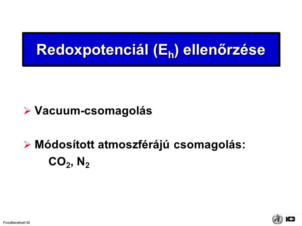 Foodtecshort 42 Redoxpotenciál (E h ) ellenőrzése  Vacuum-csomagolás  Módosított atmoszférájú csomagolás: CO 2, N 2