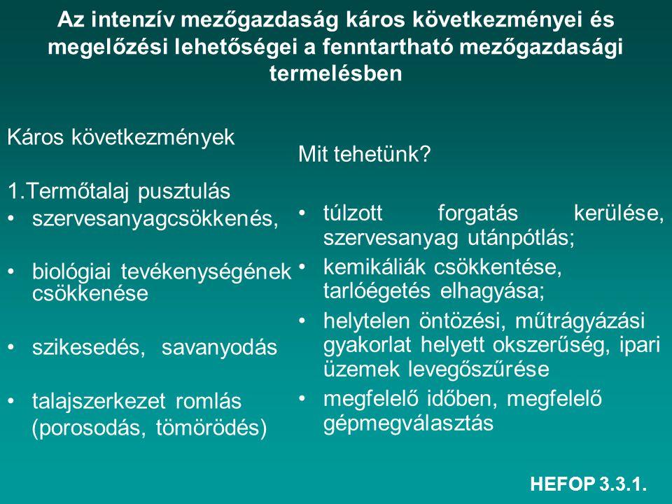 HEFOP 3.3.1. Az intenzív mezőgazdaság káros következményei és megelőzési lehetőségei a fenntartható mezőgazdasági termelésben Káros következmények 1.T