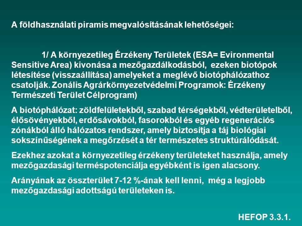 HEFOP 3.3.1. A földhasználati piramis megvalósításának lehetőségei: 1/ A környezetileg Érzékeny Területek (ESA= Evironmental Sensitive Area) kivonása