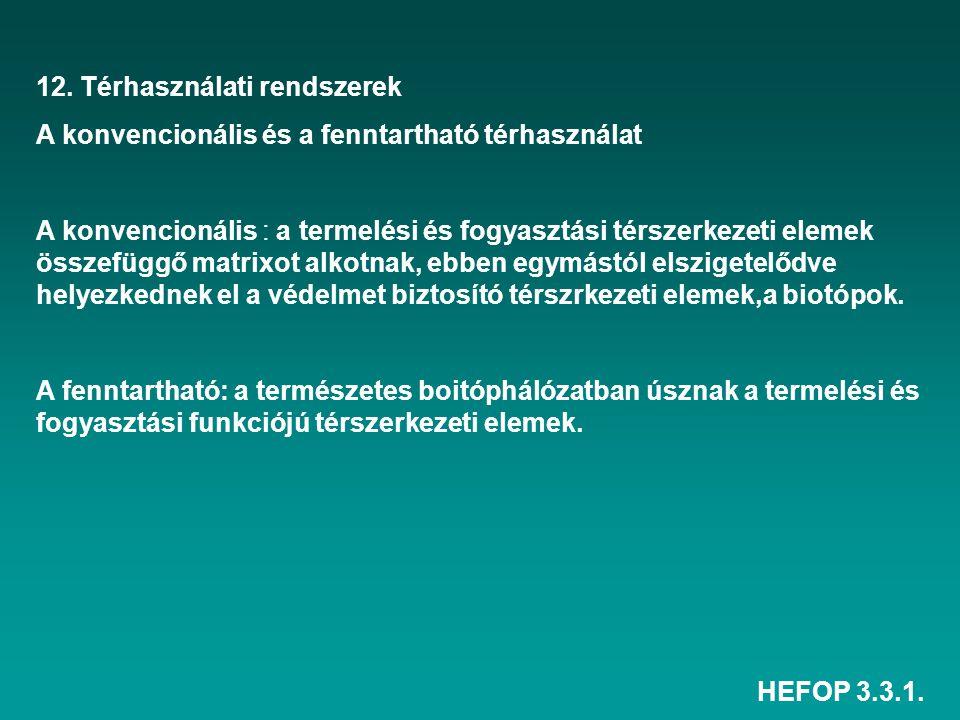 HEFOP 3.3.1. 12. Térhasználati rendszerek A konvencionális és a fenntartható térhasználat A konvencionális : a termelési és fogyasztási térszerkezeti