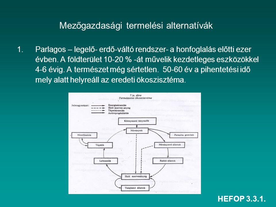 HEFOP 3.3.1. Mezőgazdasági termelési alternatívák 1.Parlagos – legelő- erdő-váltó rendszer- a honfoglalás előtti ezer évben. A földterület 10-20 % -át