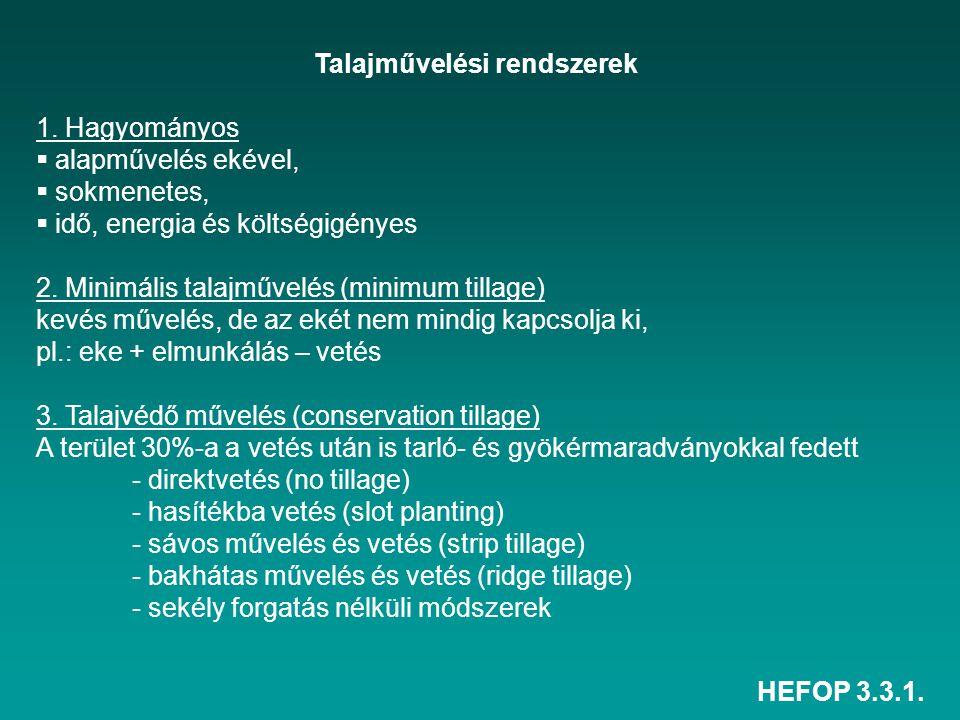 HEFOP 3.3.1. Talajművelési rendszerek 1. Hagyományos  alapművelés ekével,  sokmenetes,  idő, energia és költségigényes 2. Minimális talajművelés (m