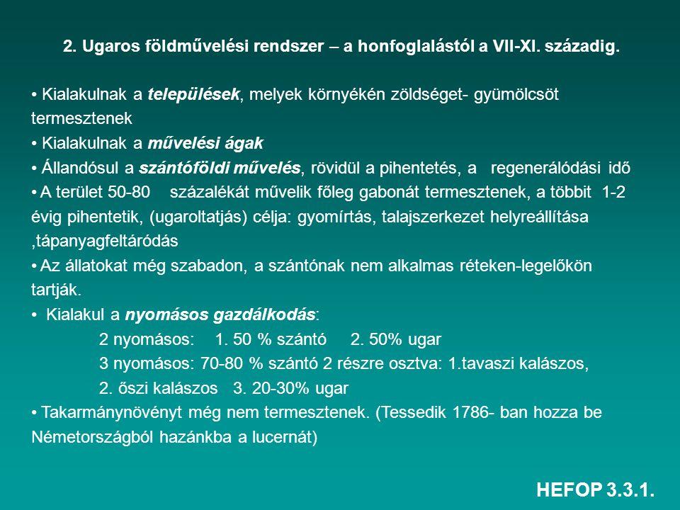 HEFOP 3.3.1. 2. Ugaros földművelési rendszer – a honfoglalástól a VII-XI. századig. Kialakulnak a települések, melyek környékén zöldséget- gyümölcsöt