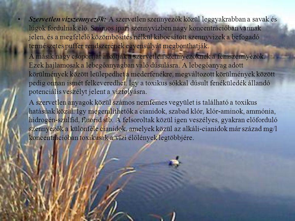 Szervetlen vízszennyezők: A szervetlen szennyezők közül leggyakrabban a savak és lúgok fordulnak elő. Számos ipari szennyvízben nagy koncentrációban v