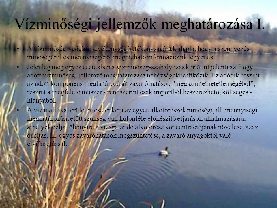 Vízminőségi jellemzők meghatározása I. A vízminőség-védelmi tevékenység hatékonyságának alapja, hogy a szennyezés minőségéről és mennyiségéről megbízh
