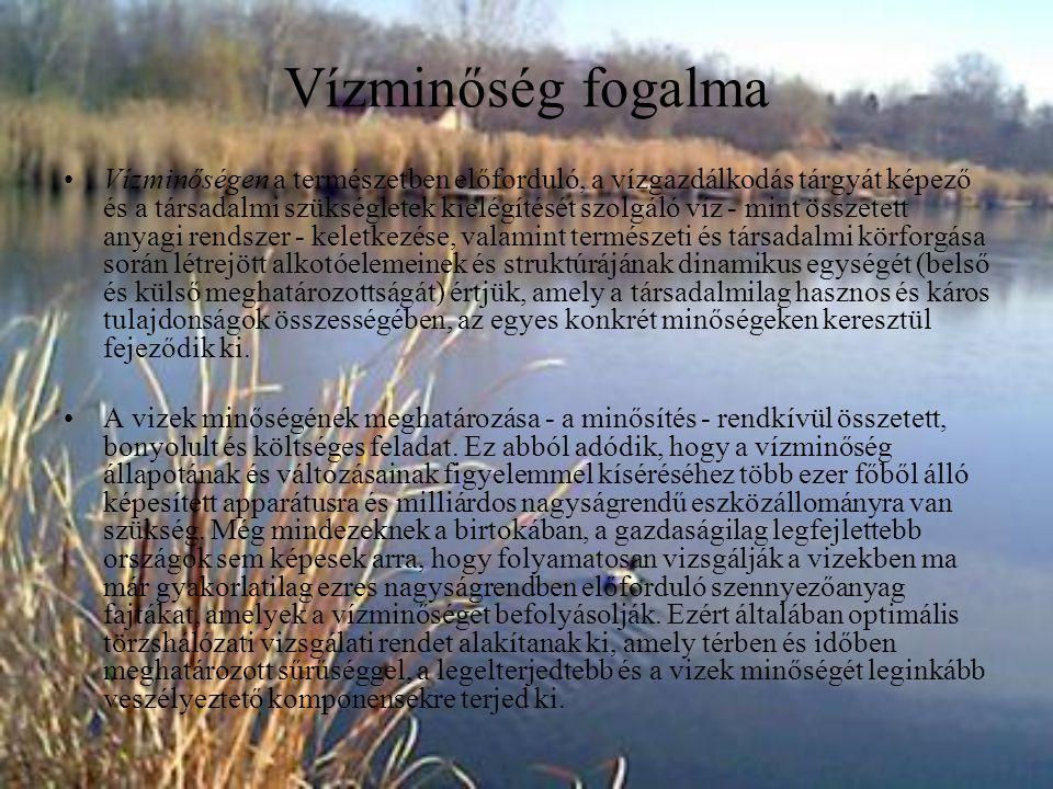 Felszíni vizek minősítése Magyarországon a felszíni vizek az 1994.