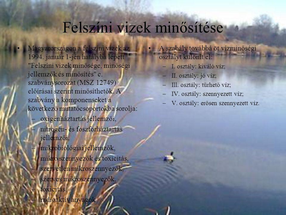 Felszíni vizek minősítése Magyarországon a felszíni vizek az 1994. január 1-jén hatályba lépett