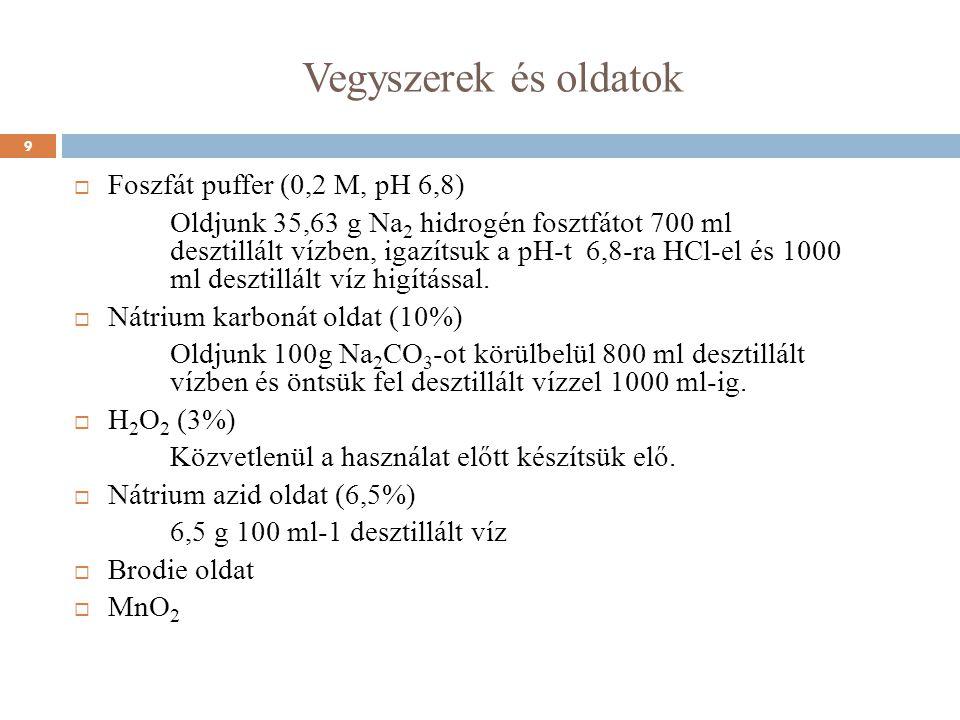 Vegyszerek és oldatok  Foszfát puffer (0,2 M, pH 6,8) Oldjunk 35,63 g Na 2 hidrogén fosztfátot 700 ml desztillált vízben, igazítsuk a pH-t 6,8-ra HCl