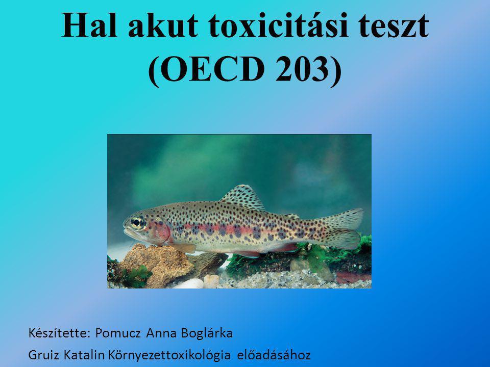 Hal akut toxicitási teszt (OECD 203) Készítette: Pomucz Anna Boglárka Gruiz Katalin Környezettoxikológia előadásához