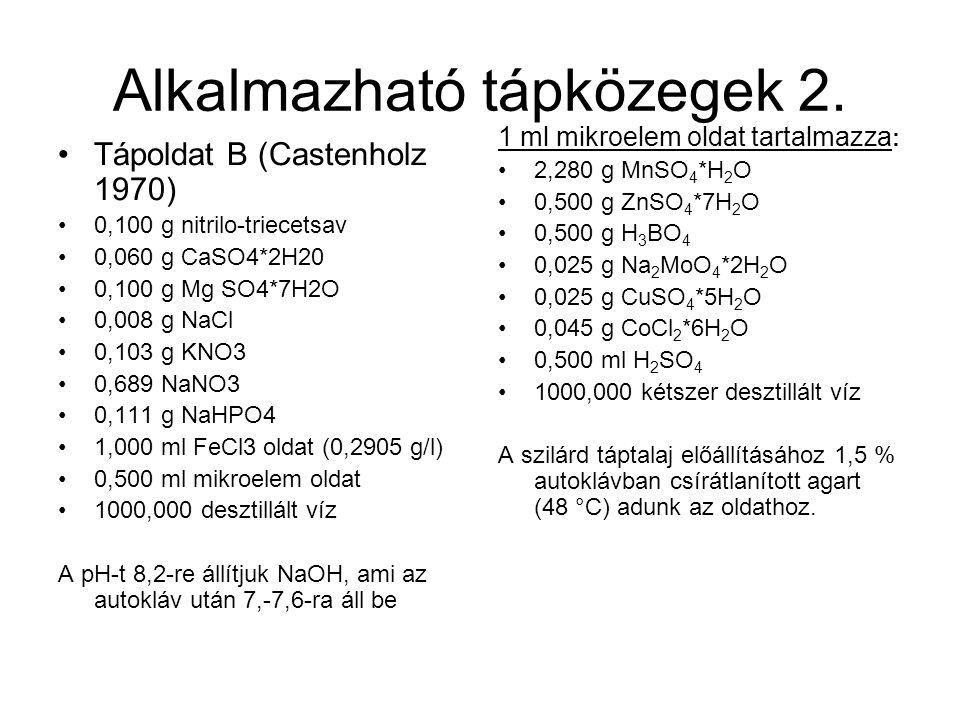 Alkalmazható tápközegek 2. Tápoldat B (Castenholz 1970) 0,100 g nitrilo-triecetsav 0,060 g CaSO4*2H20 0,100 g Mg SO4*7H2O 0,008 g NaCl 0,103 g KNO3 0,
