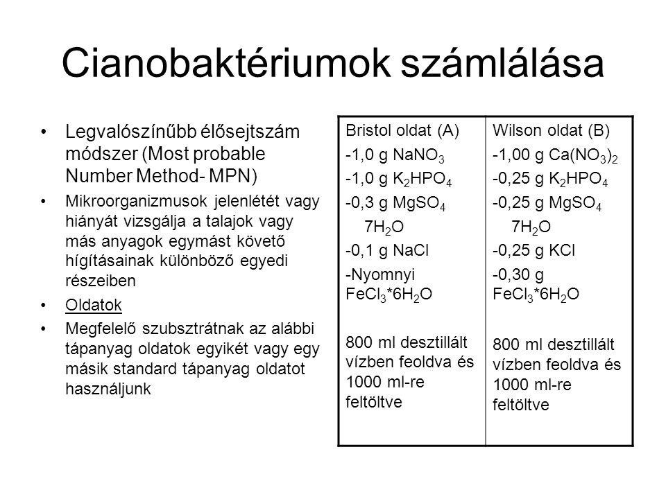 Cianobaktériumok számlálása Legvalószínűbb élősejtszám módszer (Most probable Number Method- MPN) Mikroorganizmusok jelenlétét vagy hiányát vizsgálja a talajok vagy más anyagok egymást követő hígításainak különböző egyedi részeiben Oldatok Megfelelő szubsztrátnak az alábbi tápanyag oldatok egyikét vagy egy másik standard tápanyag oldatot használjunk Bristol oldat (A) -1,0 g NaNO 3 -1,0 g K 2 HPO 4 -0,3 g MgSO 4 7H 2 O -0,1 g NaCl -Nyomnyi FeCl 3 *6H 2 O 800 ml desztillált vízben feoldva és 1000 ml-re feltöltve Wilson oldat (B) -1,00 g Ca(NO 3 ) 2 -0,25 g K 2 HPO 4 -0,25 g MgSO 4 7H 2 O -0,25 g KCl -0,30 g FeCl 3 *6H 2 O 800 ml desztillált vízben feoldva és 1000 ml-re feltöltve
