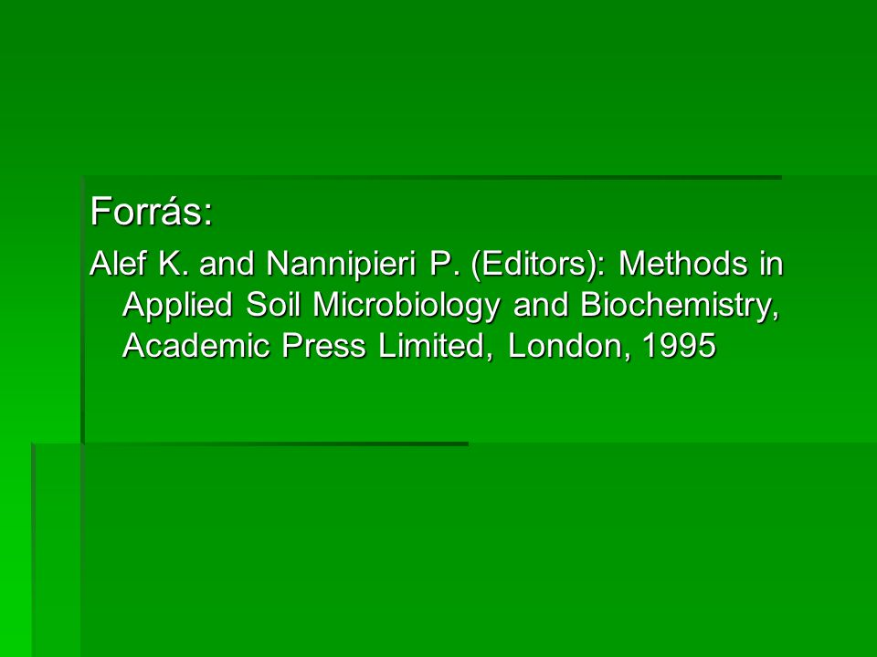 Forrás: Alef K. and Nannipieri P. (Editors): Methods in Applied Soil Microbiology and Biochemistry, Academic Press Limited, London, 1995