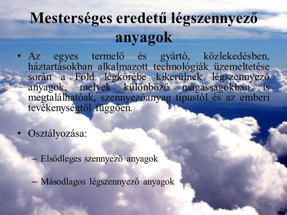 Jellemző kibocsátott légszennyező anyagok – porkibocsátással járó technológiák (szilárd légszennyezők) – szerves oldószer kibocsátással járó technológiák (VOC komponensek) – tüzelőberendezésekből és termikus technológiák (füstgáz komponensek CO, NOx, SO2, korom, szilárd anyag) – eljárás specifikus technológiák (a fentebb felsorolt szennyezőanyagokon kívül rendkívül sokféle szerves és szervetlen szilárd, gáznemű, aeroszol szennyezők)