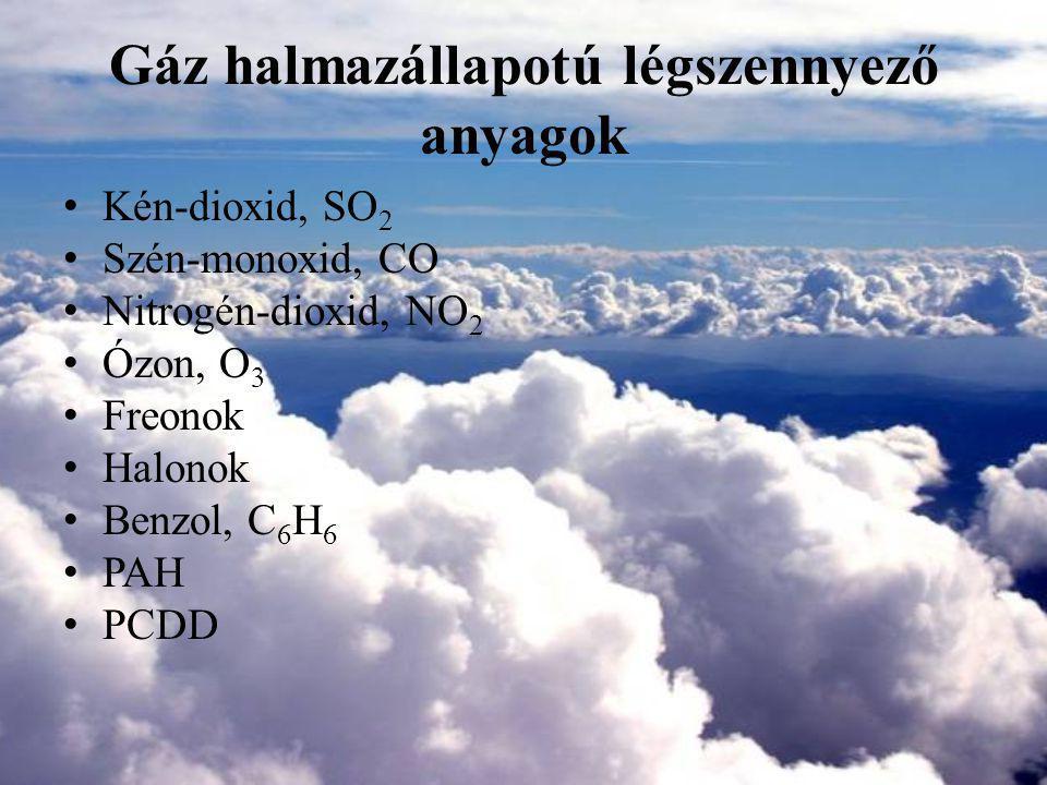 Ózon, O 3 (2.) Erősen mérgező az állatvilágra és az emberi egészségre Irritálja a szemet, az orr- és toroknyálkahártyát Köhögést és fejfájást okoz Az ózon nagy koncentrációban korrodálja a fémeket, építőanyagokat, gumit, műanyagokat Befolyásolják a fotoszintézist, a növények légzési folyamatait, csökkentik a növekedésüket és a reprodukáló képességüket Egészségügyi határérték: – Napi 8 órás mozgó átlagkoncentrációk maximuma 120 µg/m 3