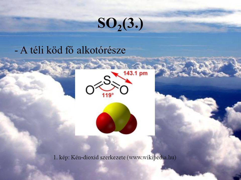 Szén-monoxid, CO(1.) Színtelen, szagtalan, vízben kevéssé oldódó gáz Molekulatömege 28,01 g/mol Természetes forrásai: vulkánok, erdő- és bozóttüzek, élőlényeg anyagcseréje Emberi forrásai: fosszilis tüzelőanyagok tökéletlen égésénél, erőművekből, gépjármű közlekedésből, kohászat, kőolajipar, vegyipar