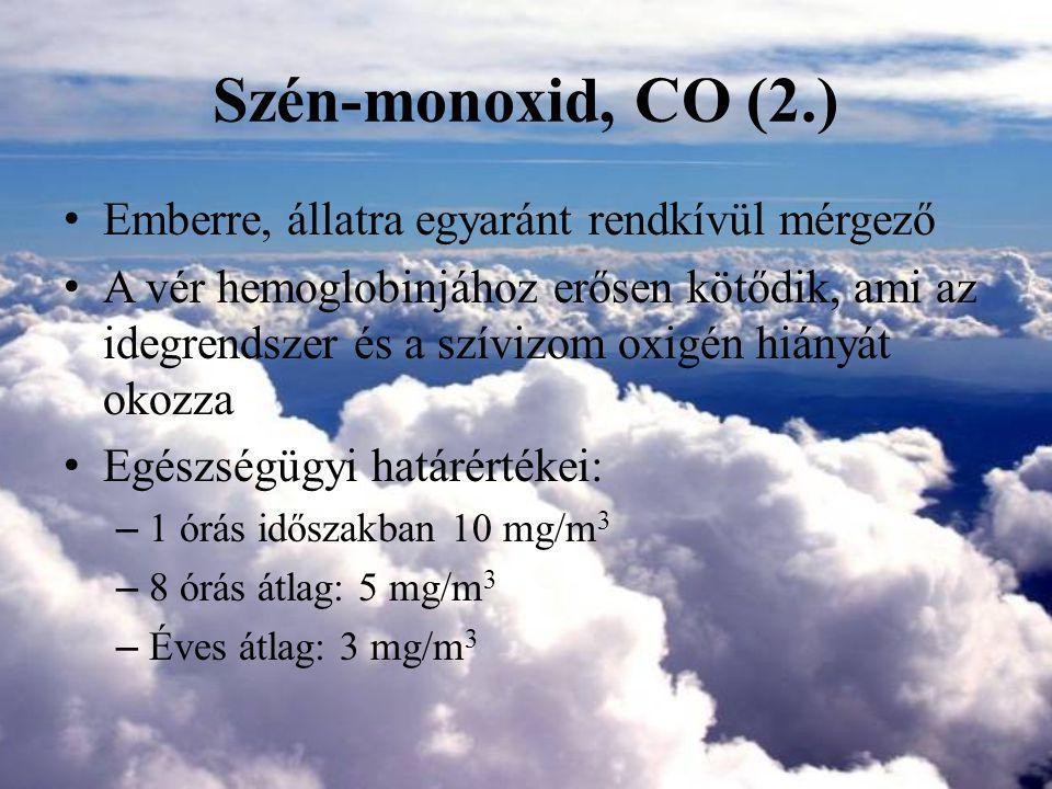 Szén-monoxid, CO(3.) Veszélyességi fokozat: II.Fokozottan veszélyes 2.