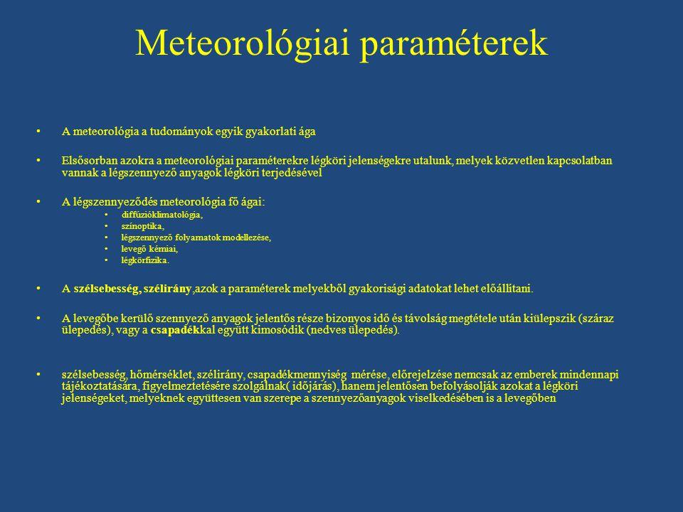 Meteorológiai paraméterek A meteorológia a tudományok egyik gyakorlati ága Elsősorban azokra a meteorológiai paraméterekre légköri jelenségekre utalunk, melyek közvetlen kapcsolatban vannak a légszennyező anyagok légköri terjedésével A légszennyeződés meteorológia fő ágai: diffúzióklimatológia, színoptika, légszennyező folyamatok modellezése, levegő kémiai, légkörfizika.